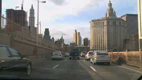 Traffic coming off of the Brooklyn Bridge stock video footage