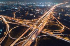 Taoyuan International Airport System Interchange Aerial View at Night. Traffic concept image, panoramic birds eye view use the drone, shot in Taoyuan, Taiwan Royalty Free Stock Photo