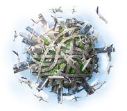 Traffic concept. Planet as concept for chaotic urban life. 3d illustration vector illustration