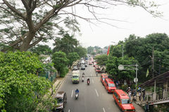 Traffic condition in main street with public transporation at Jakarta photo taken in Jakarta Indonesia Royalty Free Stock Photos
