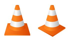 Traffic cone. Orange and white traffic cone. Vector available Royalty Free Stock Image