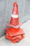 Traffic cone. Seven piece of old traffic cone on sidewalk Royalty Free Stock Photo