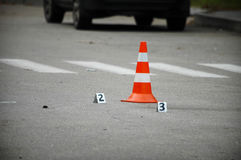 Road traffic cone on acident site Royalty Free Stock Photo