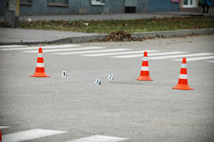 Road traffic cone on acident site Stock Photo