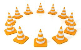 Traffic cone arranged in circular form Stock Images