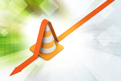 Traffic cone with arrow Stock Photo