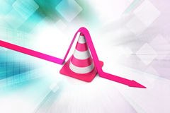 Traffic cone with arrow Royalty Free Stock Image