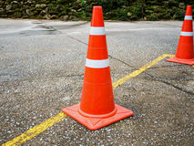 Traffic cone on the asphalt road Stock Photo