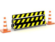 Traffic cone behind safety board Royalty Free Stock Photos