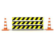 Traffic cone behind safety board Royalty Free Stock Photography