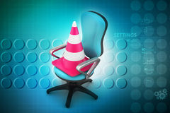 Traffic cone with chair Royalty Free Stock Photos