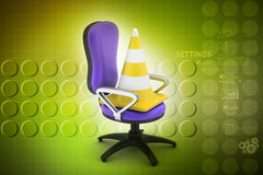 Traffic cone with chair Stock Photography
