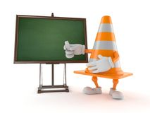 Traffic cone character with blank blackboard. Isolated on white background. 3d illustration Stock Photography