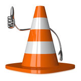 Traffic cone character giving thumb up Royalty Free Stock Photography