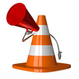 Traffic cone character with megaphone Stock Photography