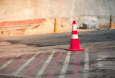 Traffic cone color orange for partition parking lot on road or f. Loor, traffic cone for drive car center Royalty Free Stock Photo