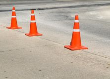 Traffic cone on the concrete road. Traffic cone on the concrete road,Thailand Royalty Free Stock Photography