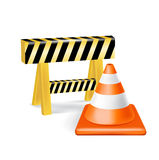 Traffic cone and construction sign isolated Royalty Free Stock Photos