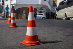 The traffic cone. Traffic cone for traffic control. Focus on the foreground Stock Photography
