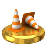 Traffic cone on gold podium Royalty Free Stock Image
