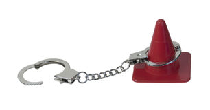 Traffic Cone and Handcuffs Royalty Free Stock Images
