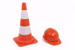 Traffic Cone And Hardhat Stock Images