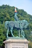 Traffic cone on a head of the monument Stock Images