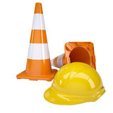 Traffic cone and helmet Stock Photo