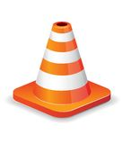 Traffic cone icon. Glossy traffic cone icon isolated on white for design Stock Image