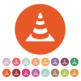 The traffic cone icon. Safety and attention, danger, warning symbol. Flat Stock Photos
