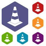 Traffic cone icons set Royalty Free Stock Photos