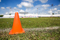 Traffic cone at Khonkaen Foot ball Academy Royalty Free Stock Image