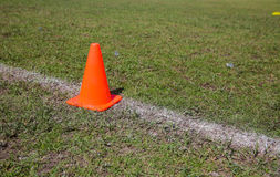 Traffic cone at Khonkaen Foot ball Academy Stock Photography