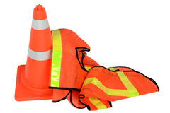 Traffic cone and luminous vests Royalty Free Stock Photos