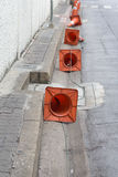 Traffic cone. Many of Traffic cone on the road Stock Images