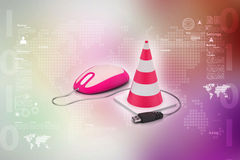 The traffic cone with mouse Royalty Free Stock Image