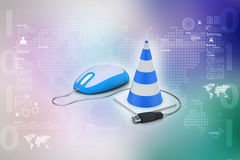The traffic cone with mouse Royalty Free Stock Images