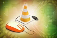 Traffic cone with mouse Stock Photo