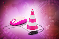 Traffic cone with mouse Stock Photography