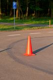 Traffic cone on the parking Stock Photography