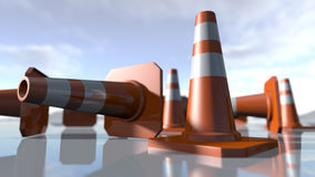 Traffic cone pilons. 3D rendering. 3d rendering of a set of orange traffic pawns. A close up of cone shapes on a modern reflected background Stock Photography