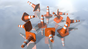 Traffic cone pilons falling down. 3D rendering. 3d rendering of orange traffic pawns falling down. A close up of cone shapes on a modern reflected background stock illustration