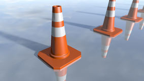 Traffic cone pilons in a row. 3D rendering. 3d rendering of orange traffic pawns in a row. A close up of cone shapes on a modern reflected background Stock Image