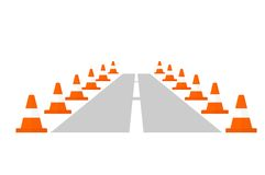 Traffic cone on a road Stock Images