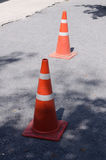 Traffic cone on road construction site. Stock Image