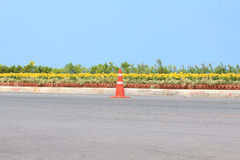 Traffic cone on road with flower and seascape as background. Traffic cone on road with flower and seascape background Royalty Free Stock Photo