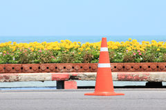 Traffic cone on road with flower and seascape as background Stock Image