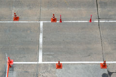 Traffic cone on the road. For guidance safety directional Royalty Free Stock Photo