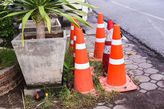 Traffic cone in the road Royalty Free Stock Image