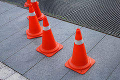 Traffic cone road signs in the street Stock Photo